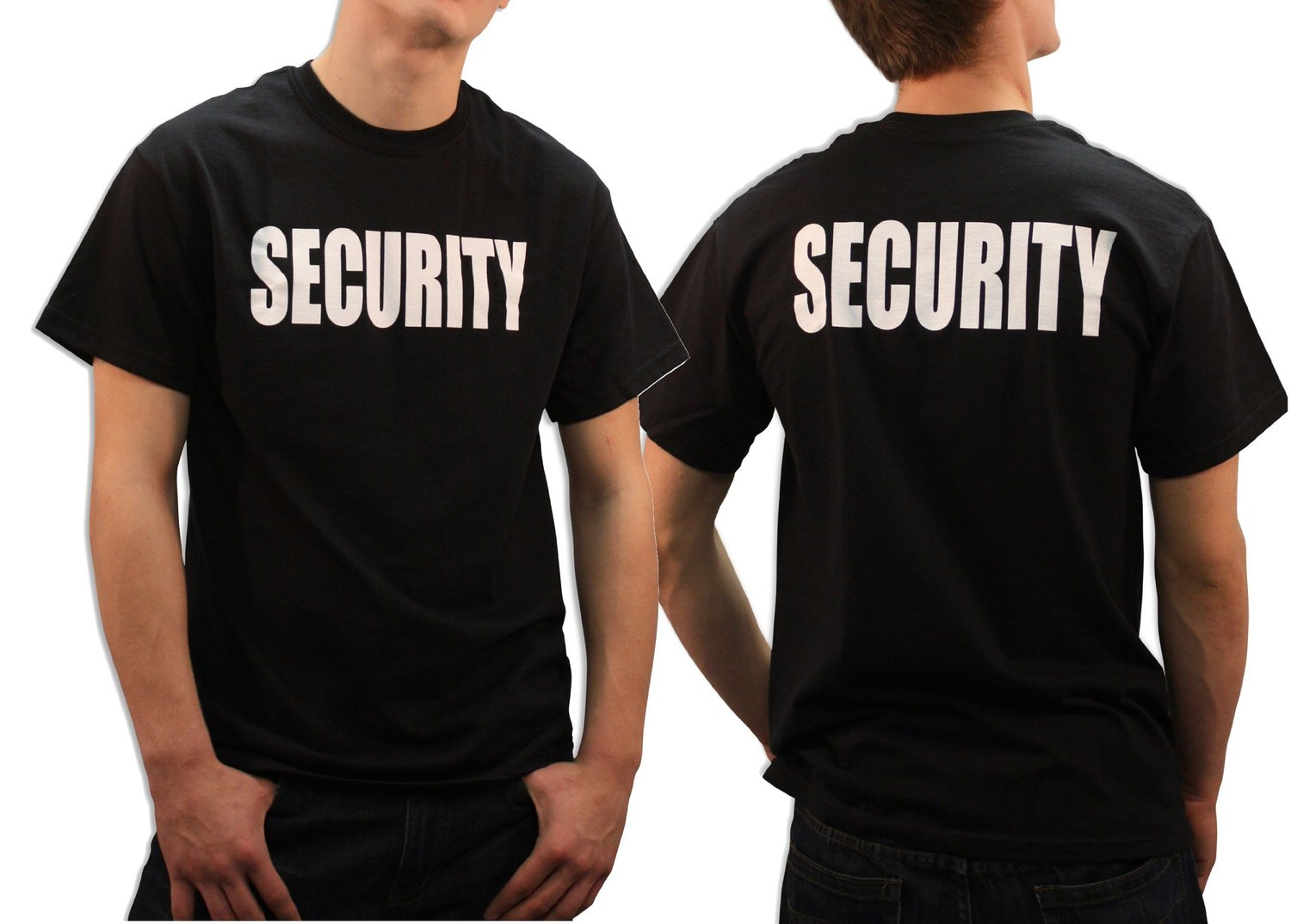 Official security men t shirt print on front back cotton black o neck