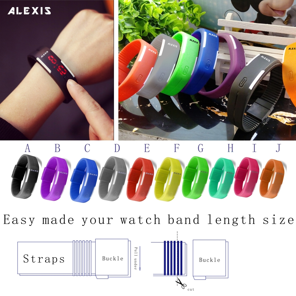 8PCS. LOT Wholesales Colorful Choose LED Display Watches Silicone Easy Cut Your Watch Band Length Size Digital Watch DW447
