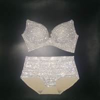 2018 bikini set sexy women diamond swimwear push up rhinestone biquini bling stones bikini lady bathing suit