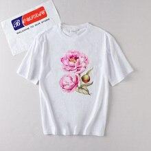 Female T-Shirt Flower Printed T shirt Women funny women Summer Camisetas Mujer Streetwear harajuku Tops Tee kawaii tumblr