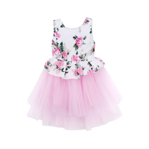 7a58f665a3a1 Toddler Kids Baby Girls Clothes Dress Princess Floral Pink Tutu Tulle  Sleeveless Ruffles Party Dresses Baby Girl 0-3T