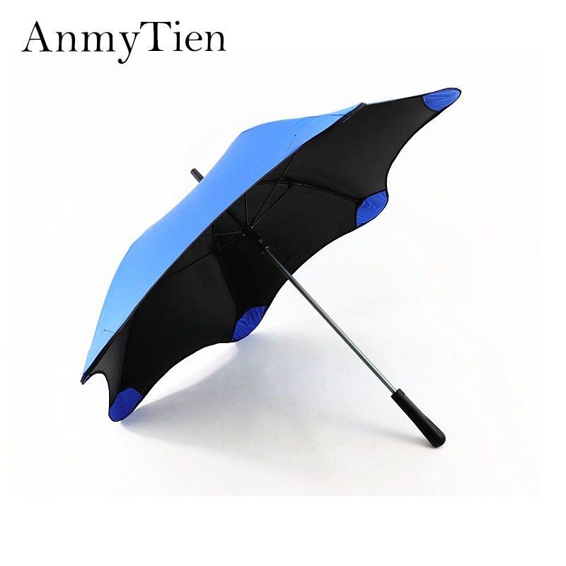 Lange Steel Paraplu Mannelijke Vrouwelijke Zwarte Parasols Ronde Hoek Veiligheid Super Winddicht Paraplu Anti Uv Paraplu Cadeau-in Paraplu´s van Huis & Tuin op  Groep 1