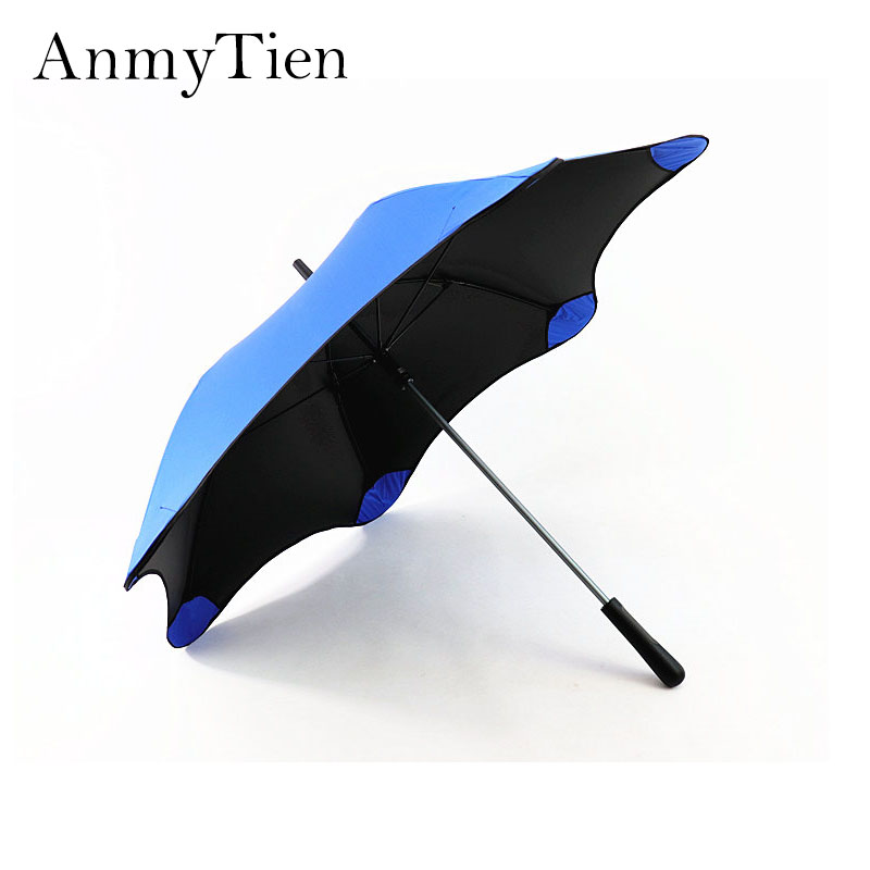 Long Handle Umbrella Male Female Black Sun Umbrellas Round Corner Safety Super Windproof Umbrella Anti UV Gift Umbrella
