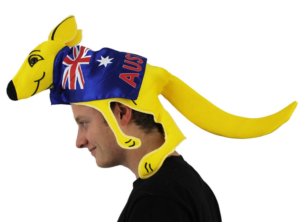 2018 KANGAROO HAT AUSTRALIAN SPORT SUPPORTERS WITH FLAG FANCY DRESS ONE SIZE AUSSIE RUGBY JOEY