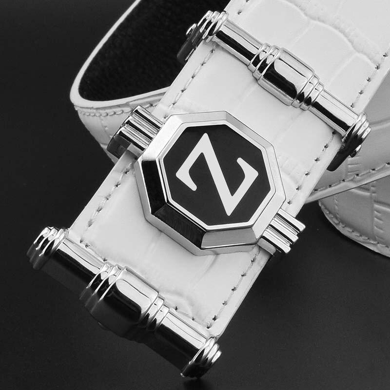 eaf53112fc83 Z lettre hommes ceinture de luxe célèbre marque Casual blanc bracelet pour  homme en cuir véritable