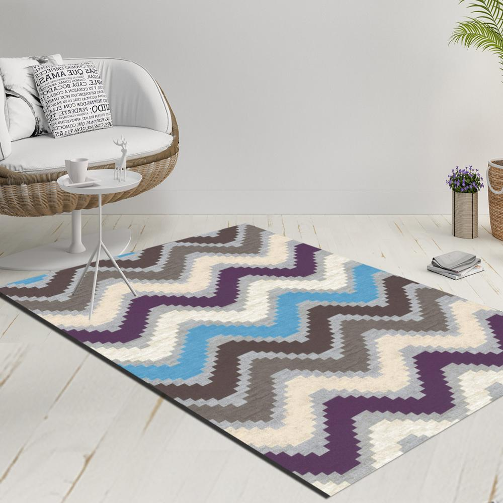 Else Bue Gray Purple Verev Lines Geometric 3d Print Anti Slip Kilim Washable Decorative Kilim Rug Modern Carpet