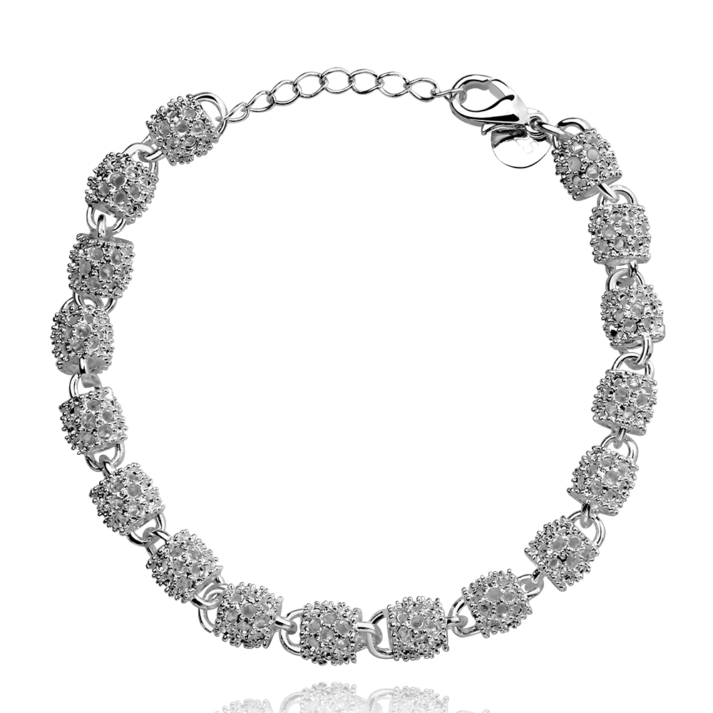 Lureme Hot Sale Charming Shiny Jewlery Bead Hollow Out Silver Plated Bracelets for Women (06002778)