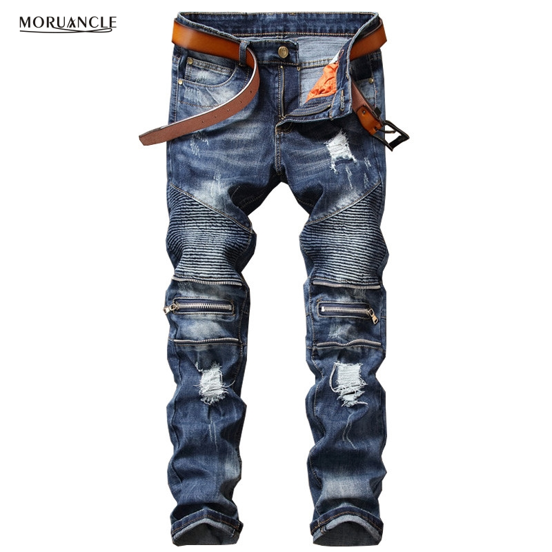 Biepa New Fashion Men's Ripped Biker Jeans Pleated Distressed Motorcycle Denim Trousers For Male Knee Zipper Slim Fit Straight 2017 fashion patch jeans men slim straight denim jeans ripped trousers new famous brand biker jeans logo mens zipper jeans 604