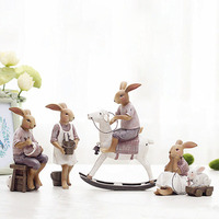 Creative resin cute rabbits hares figurines family set vintage statue crafts gift for home decor