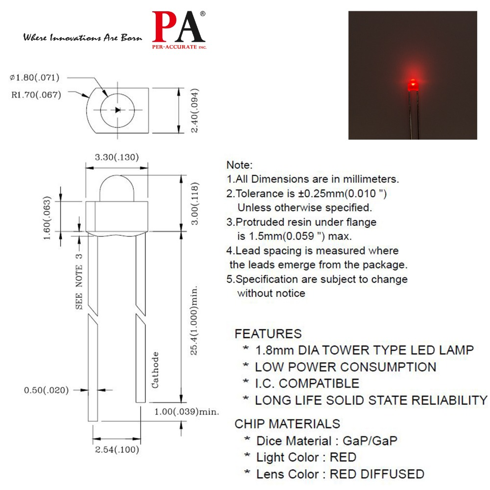 hight resolution of pa led 50pcs x 1 8mm dip tower type led lamp red 0 8mcd diffused in 8mm led led tower led package diagram