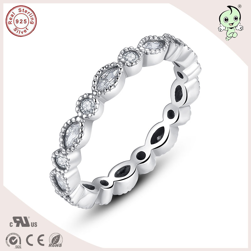 P&R products Best Quality Delicate 925 Real Silver Zircon Stone Connecting Silver Ladys Ring for women
