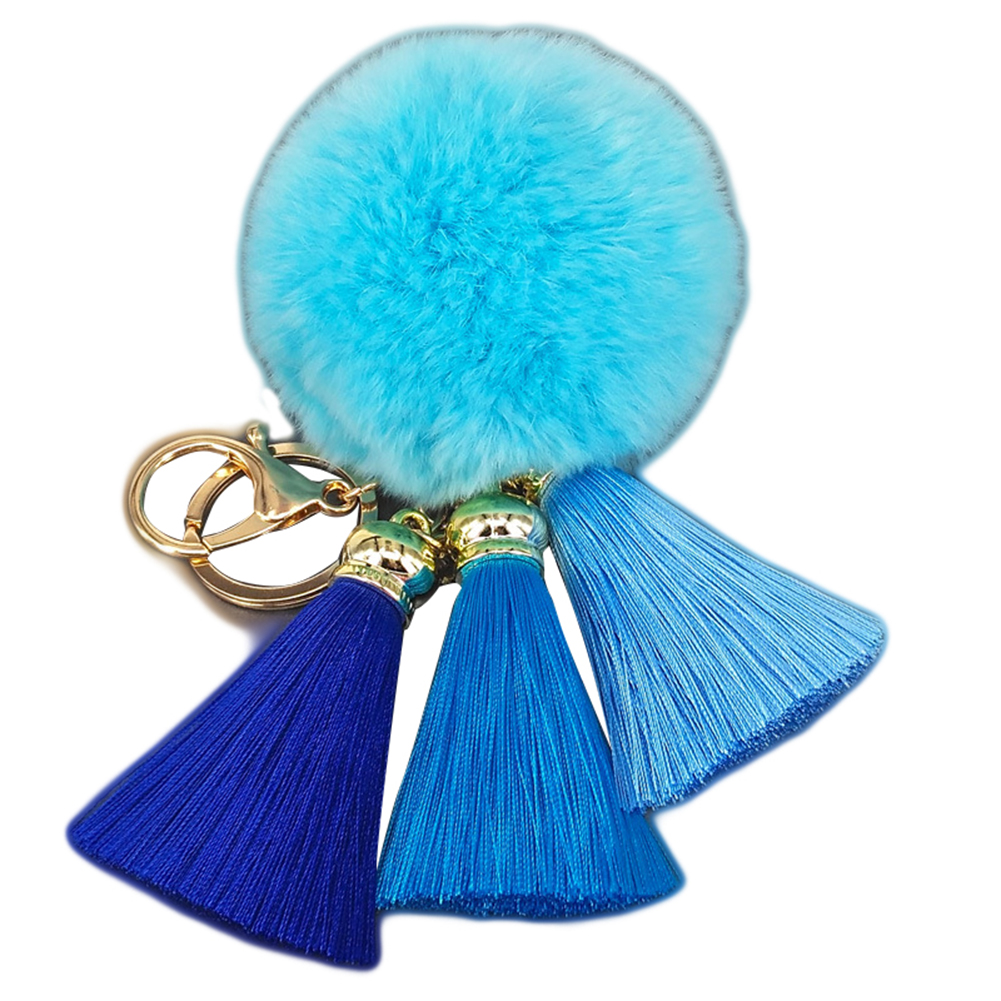Fashion Cute Plush Fur Ball Tassels Keychain Bag Purse Hang Decoration Keyring