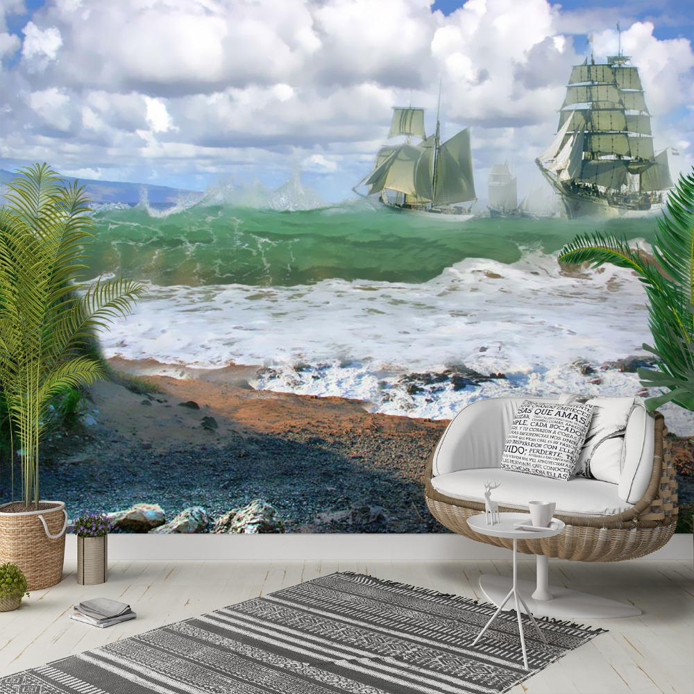 Else Green Sea Waves Blue Sky Ships 3d Print Photo Cleanable Fabric Mural Home Decor Living Room Bedroom Background Wallpaper