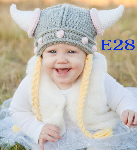80pcs/lot Baby crochet Ox horn hat, childrens Hat 100% Cotton,New Handmade 100% Cotton Viking Newborn Baby Knit Crochet Hat