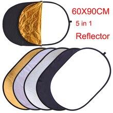 60x90CM 5 IN 1 katlanabilir fotoğraf reflektör fotoğraf stüdyosu fotoğraf Oval Reflecotor fotografik aydınlatma reflektör damla gemi