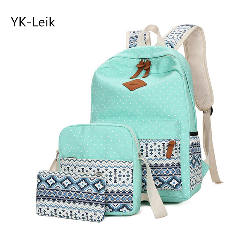 YK-Leik 2018 fashion ethnic style women backpack High quality canvas backpacks kids school bags for girls mochila feminina
