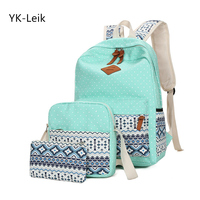 High Quality Canvas School Bag For Girls Schoolbag Fashion Dot National Style Backpack For Fresh Ladies