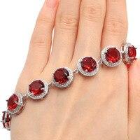 Big Round Gemstone 10x10mm Pink Raspberry Rhodolite Garnet CZ Party Silver Bracelet 6.5 7.5 14x14mm