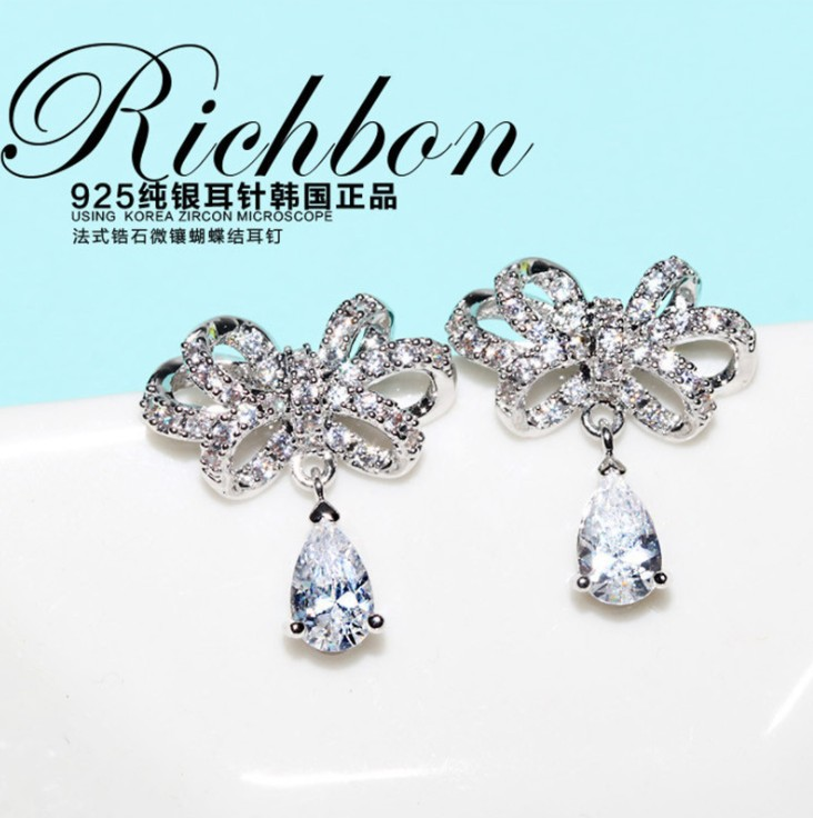 New 925 Silver Fashion Jewelry Authentic Swarovski Teardrop Bow Tie Crystal From Wedding Earrings For Woman In Stud