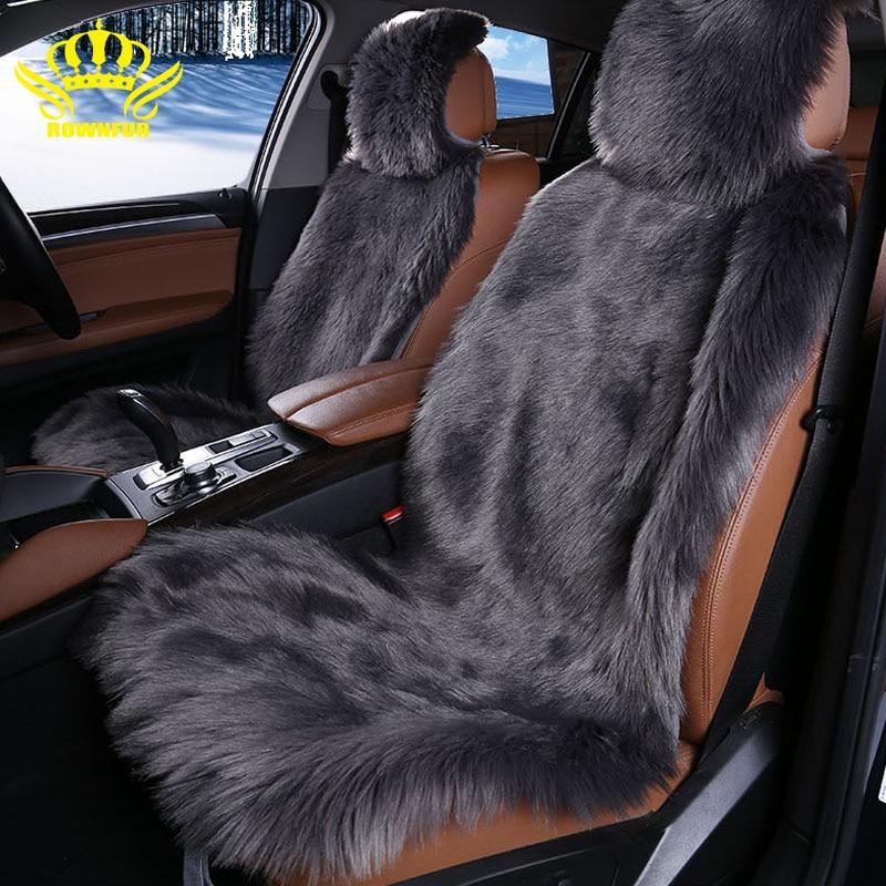Lunga pelliccia del faux seggiolino auto copre 2 pz sedile anteriore della copertura di 4 colori formato universale per tutto per auto renault laguna 3 per auto opel meriva