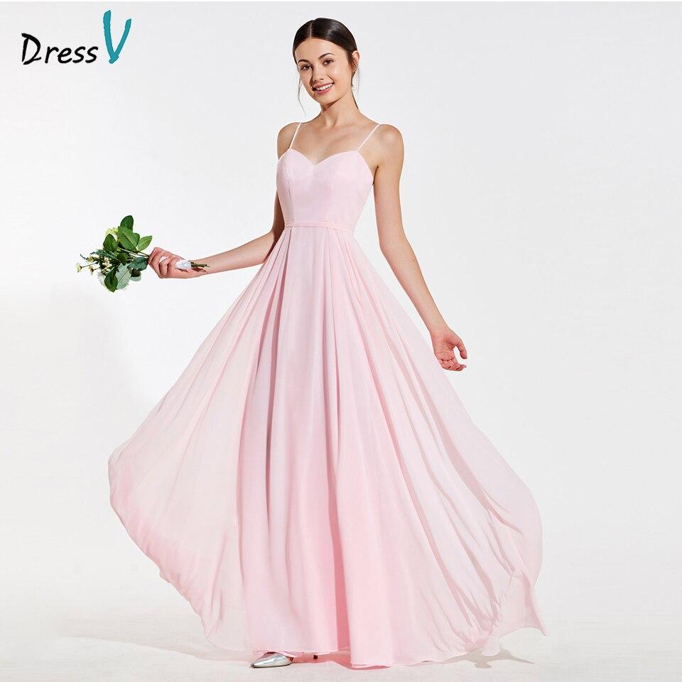 Dressv Elegant Pink Spaghetti Straps A Line Bridesmaid Dress Ruched Backless Wedding Party Women Floor Length Bridesmaid Dress