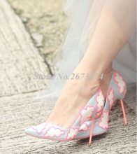 2019 NEW Women Stilettos Sweet Cloud Slip-on Female High Heels Wedding Shoes Woman Spring/Summer Poined Toe Women Pumps blue with gold wedding pumps peep toe high heels slip on stilettos party shoes 2016 new women pumps sweet bridal pump shoes
