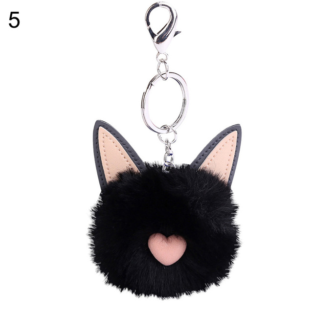 Cute Cat Faux Fur Fluffy Ball Key Chain Bag Girls Pendant Hanging Keyring  Gift 6d653c11cda52
