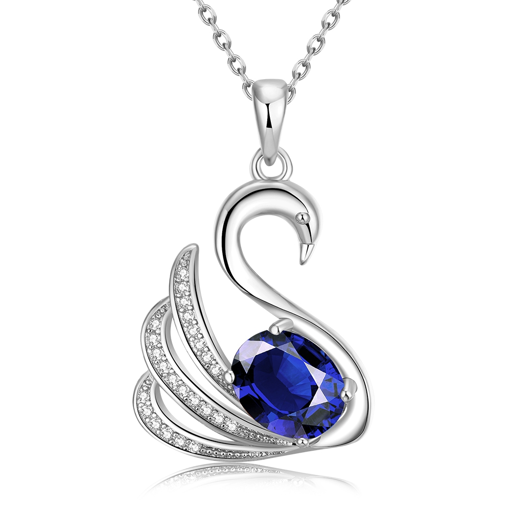 Noble Animal Goose Design Plating Gold Pave Blue Zircon Fashion Classical Charming Plating White Gold Pendant Necklace