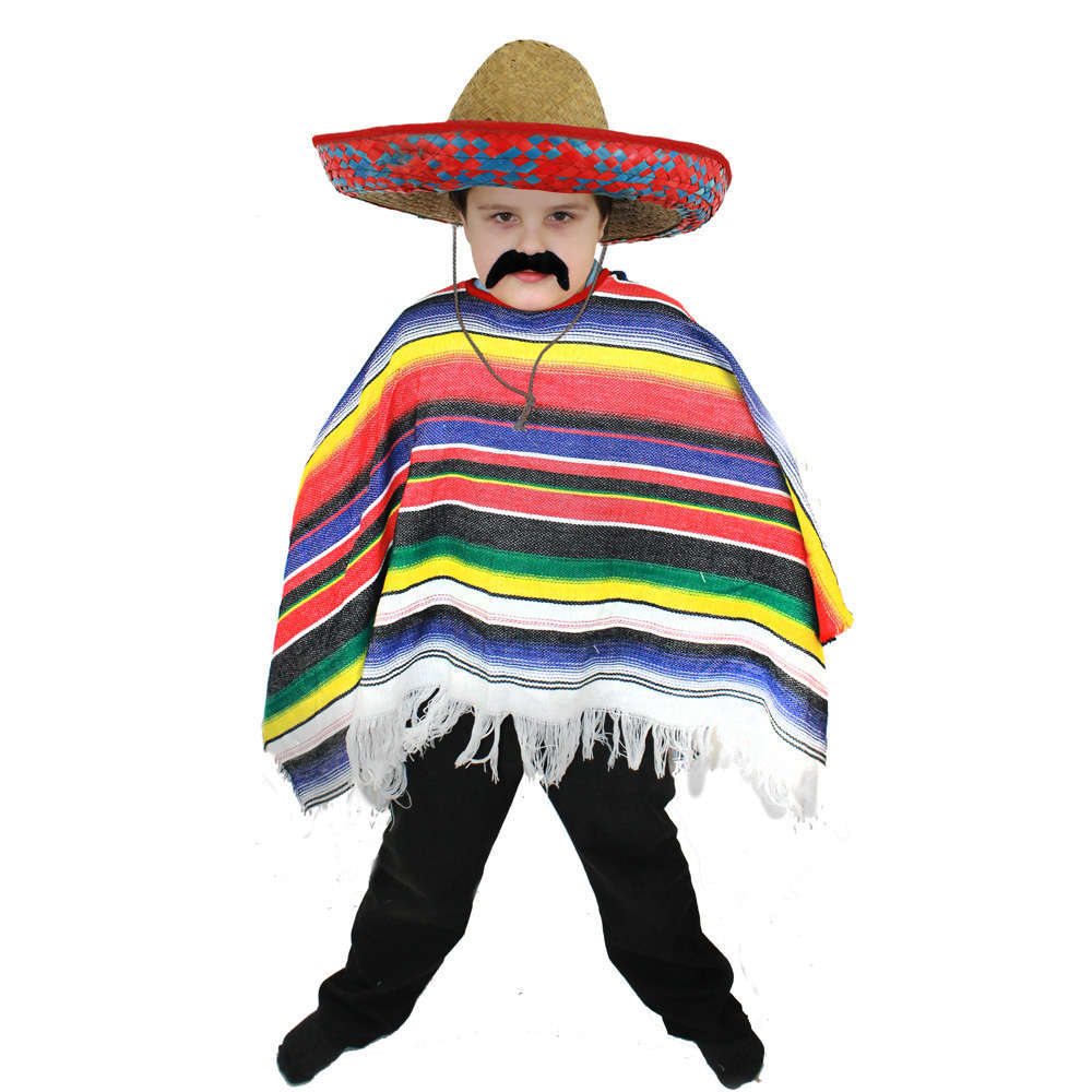 Fancy Dress Mexican Western Wild West Cowboy PonchoDay Of The Dead Halloween