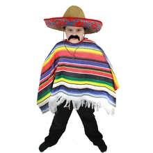 Niño mexicano PONCHO calidad Salvaje Oeste bandido traje SOMBRERO de paja 9f2baf227c6