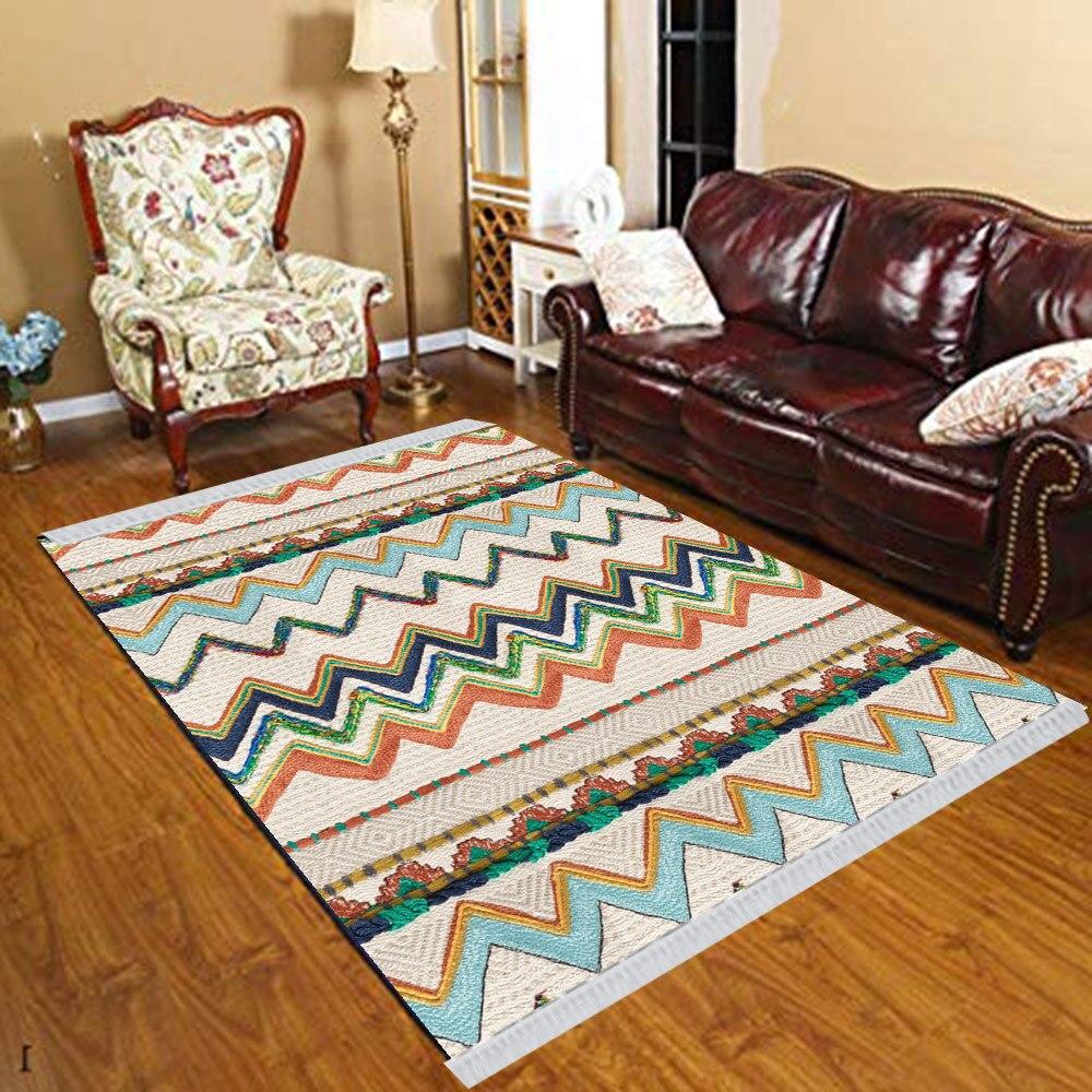 Else Green Brown Blue Verev Lines Turkish Vintage 3d Print Anti Slip Kilim Washable Decorative Kilim Tassel Rug Bohemian Carpet
