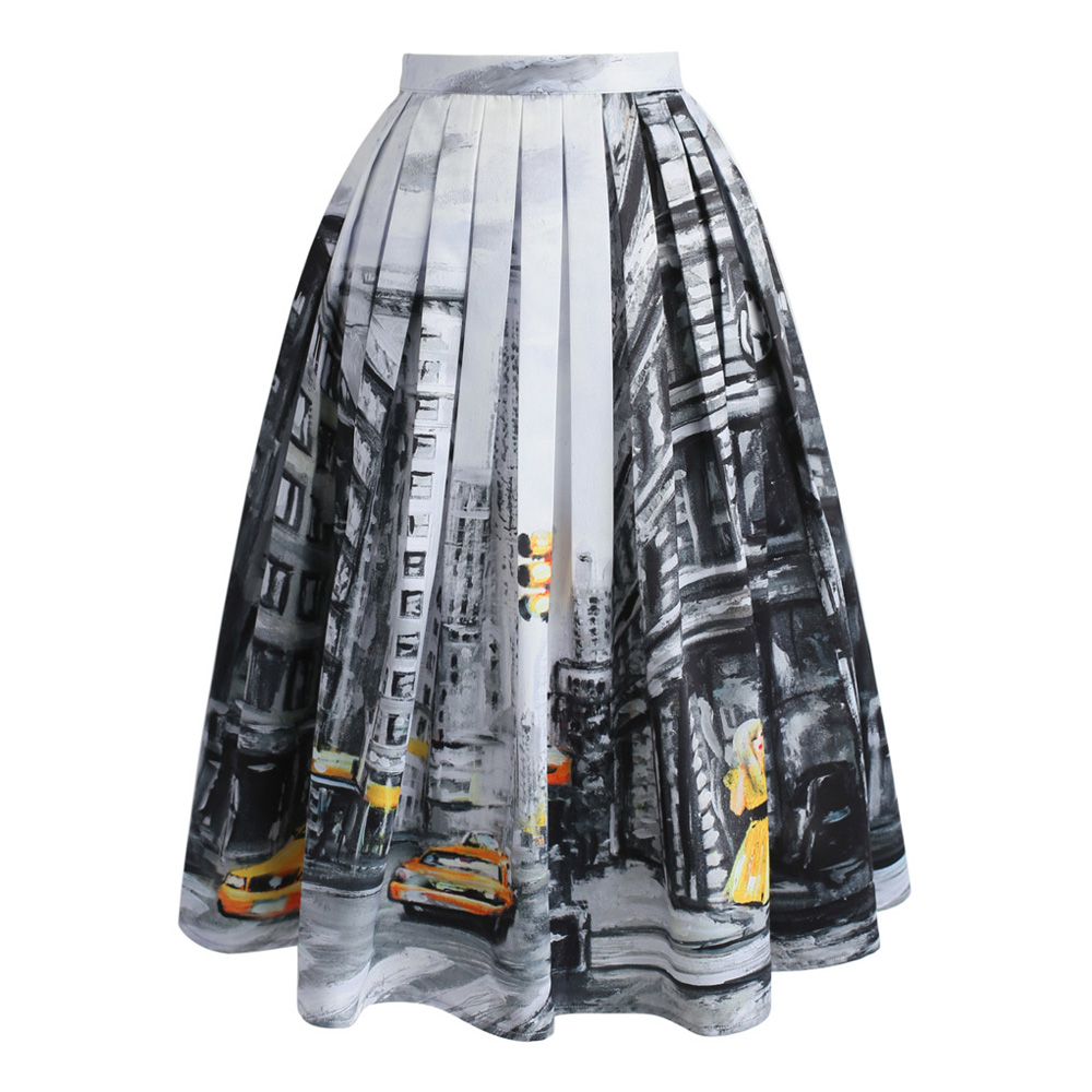 0b441970de Chicwish 2017 Women's Party Elegance Grey Lady Yellow Cab New York Scenery Print  Pleated A line Midi Skirt-in Skirts from Women's Clothing on Aliexpress.com  ...