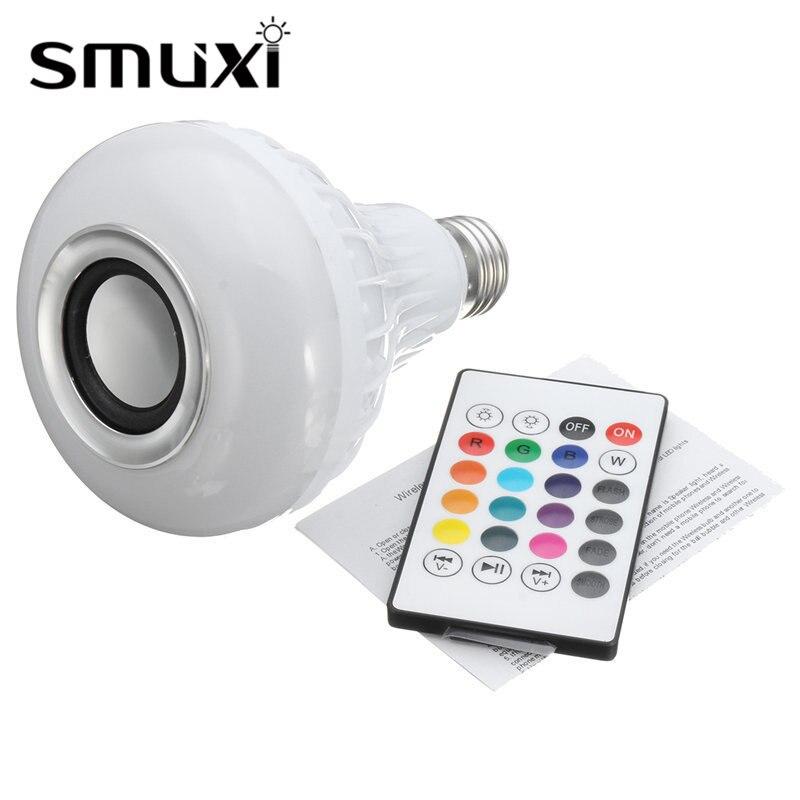 Smuxi E27 15W RGB LED Wireless Bluetooth Speaker Music Audio RGB Light Bulb Playing Lamp + Remote Control Decor Stage Lighting