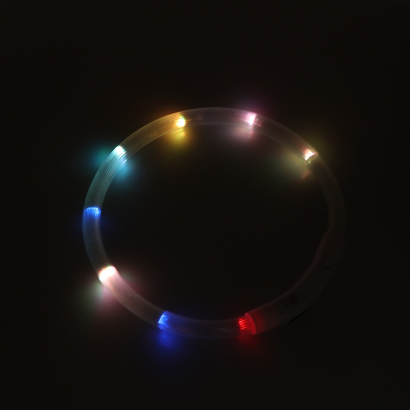 50/75cm Pets Puppy Light Flashing Collar Soft Identification USB Charge For Cat Dog