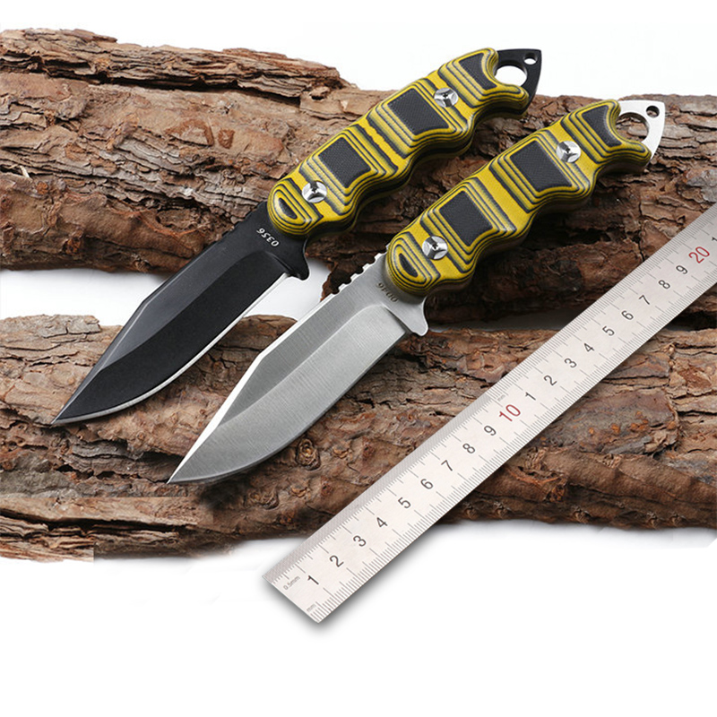 High hardness 9CR18MOV steel Sharpest Tactical Survival Knives Leather Sheaths Outdoors Camping EDC Rescue Tools G10High hardness 9CR18MOV steel Sharpest Tactical Survival Knives Leather Sheaths Outdoors Camping EDC Rescue Tools G10