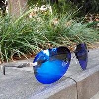 LVVKEE Brand Logo Rays Sunglasses Top Quality Women Polarized Glasses Men Rimless Aviator Green Pink Golden