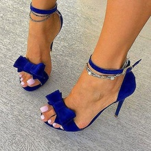 Women Sandals Gladiator Women Deep Blue Open Toe Bow Sandals Stiletto Heel Ankle Strap Sandals Royal Blue Big Butterfly-Knot miquinha 2017 new designer trend butterfly knot bow knot rome sandals gladiator shoes ladies open toe flats shoes women sandals
