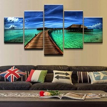 Poster 5 Pieces Top-Rated Canvas Print Ocean Sky Tropical Modular Pictures Wall Art Home Decorative Painting Bedroom