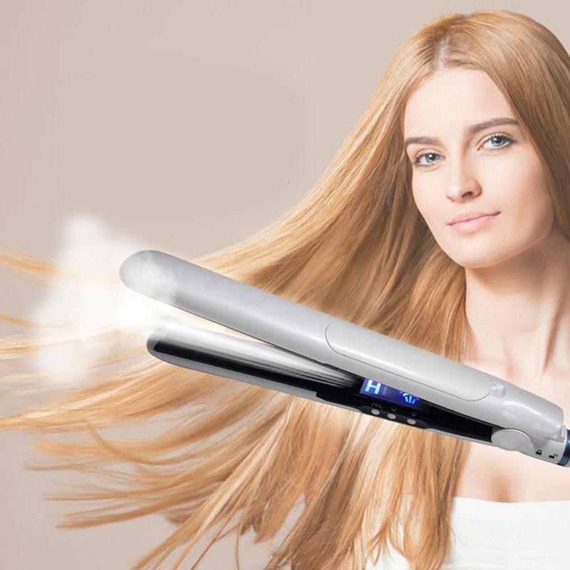 JD Tourmaline Ceramic Heating Plate Personalized steam Hair Flat Iron Vapor Plate Wet Professional Steampod Hair Straightener lcd display professional heating hair straightener tourmaline ceramic flat iron smooth plate negative ions salon hairdressing