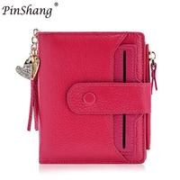 PinShang Women S Mini 100 Genuine Leather Bifold Wallet With ID Window Card Sleeve Anti RFID