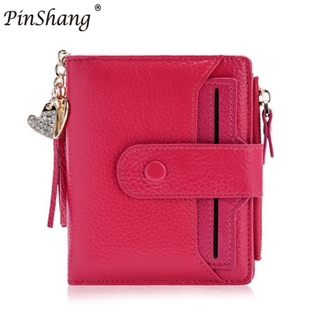 PinShang Womens Mini 100% Genuine Leather Bifold Wallet With ID Window Card Sleeve Anti  ...