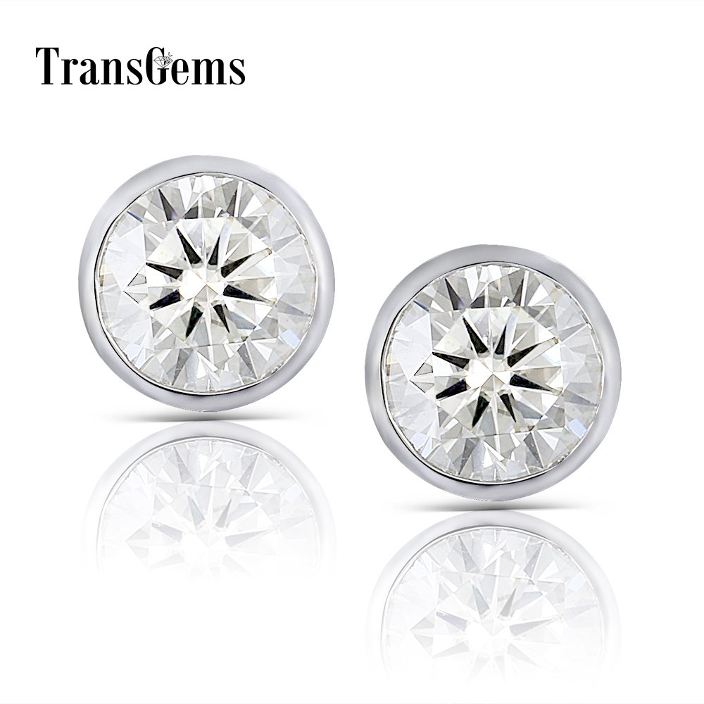 Transgems 14K 585 White Gold 2CTW 6.5mm 1 Carat Moissanite Diamond Stud Earrings Bezel Setting Push Back Earrings for Women 1 0ctw carat 5mm round black moissanite 14k white yellow gold push back stud earrings test positive moissanite diamond for women