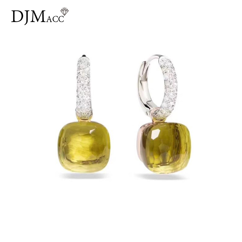 DJMACC 16 Colors Crystal Candy Water droplets style Earrings