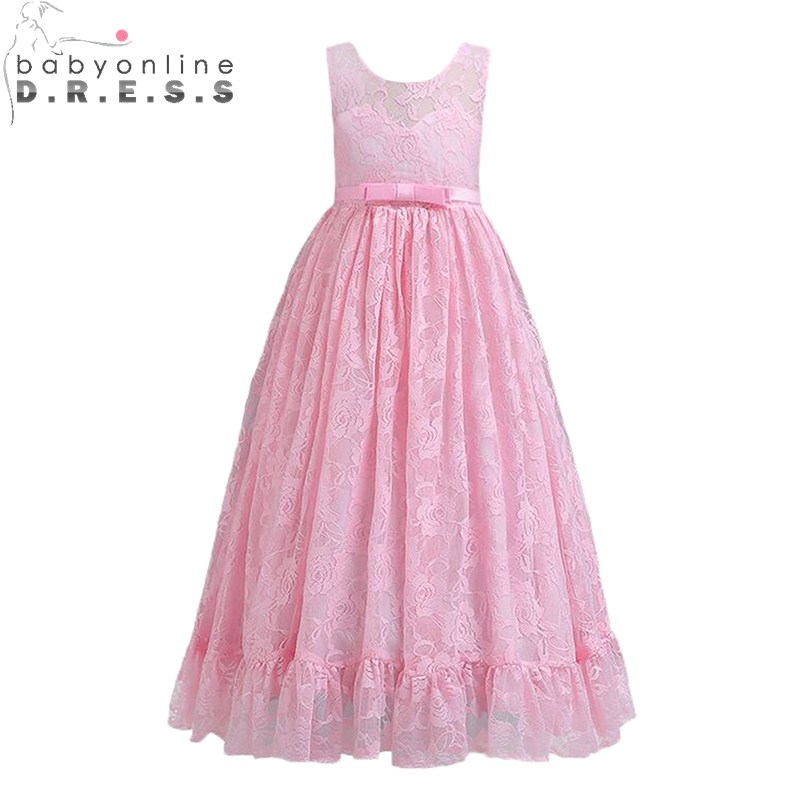 Pink White Lace Flower Girl Dresses  Lovely First Communion Dresses For Girls With Appliqued Flower Kids Evening Gowns