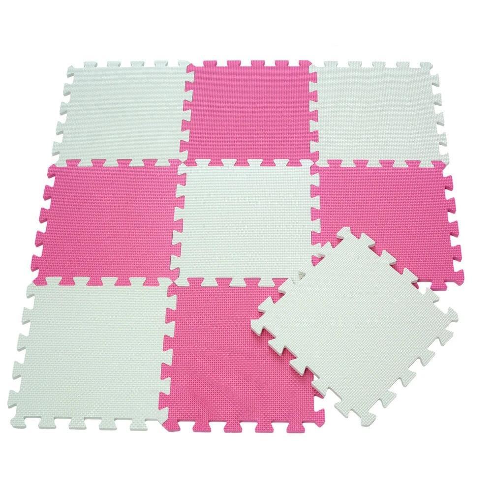 9 pieces eva mousse bebe tapis de jeu 2 couleurs rose serie puzzles tapis de sol tapis rampant tapis d activite 30x30x1cm pour les filles