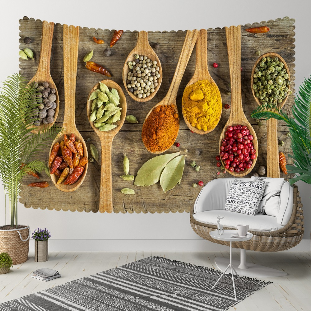 Else Brown Wood Spoon Red Yellow Green Spices Leaf 3D Print Decorative Hippi Bohemian Wall Hanging Landscape Tapestry Wall Art