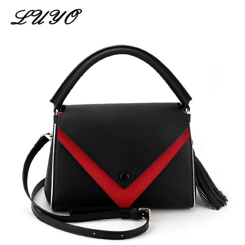 LUYO V Style Patchwork Genuine Cowhide Leather Luxury Handbags Women Shoulder Bags Designer Luois Tote Bag Female High Quality luyo vintage genuine leather ladies handbags casual hobos tassel women shoulder bag bolsa feminina designer tote high quality