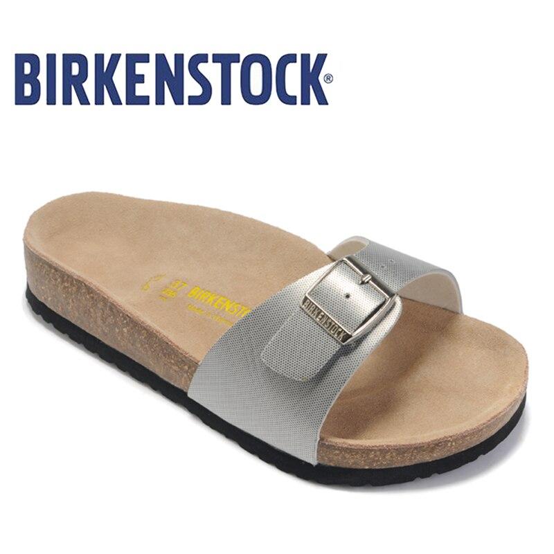 2018 Original BIRKENSTOCK Classic Madrid Birko-Flor Damen Pantoletten shoes woman Summer women Sandals free shipping 804