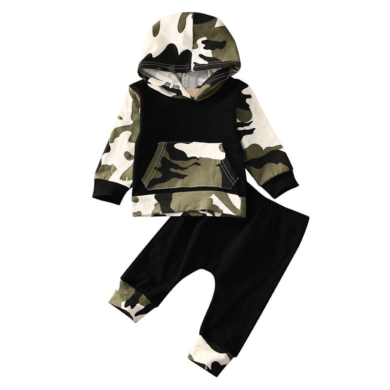 Новая Мода Ребенок ребенок Случайные Мальчик Милый с Длинным Рукавом С Капюшоном Топы + Брюки