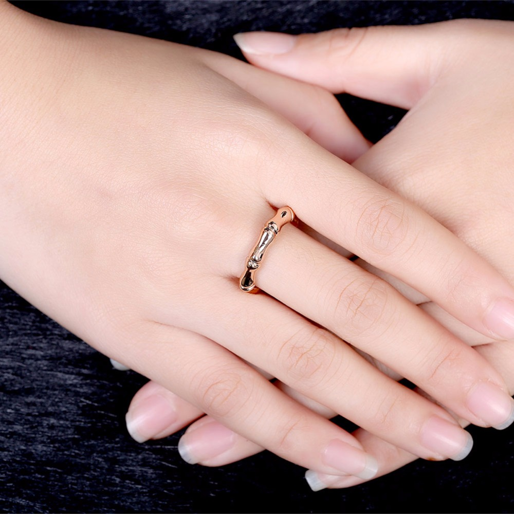 Natural Bamboo Joint Design Rose Gold Plating Copper Ring Women ...